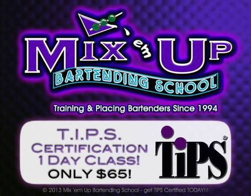 SATURDAY OCTOBER 19th at the VERONA Location @ 5pm we are offering a TIPS CLASS... Seating is limited...Don't Miss Out Become a TIPS CERTIFIED BARTENDER and become MORE valuable to BAR Owners Everywhere... Why Not Better Yourself... Get this Certification and go far with it... Please preregister Call Tony 973-857-0200 $65 and the Certification is good for 3 years... See ya Saturday...
