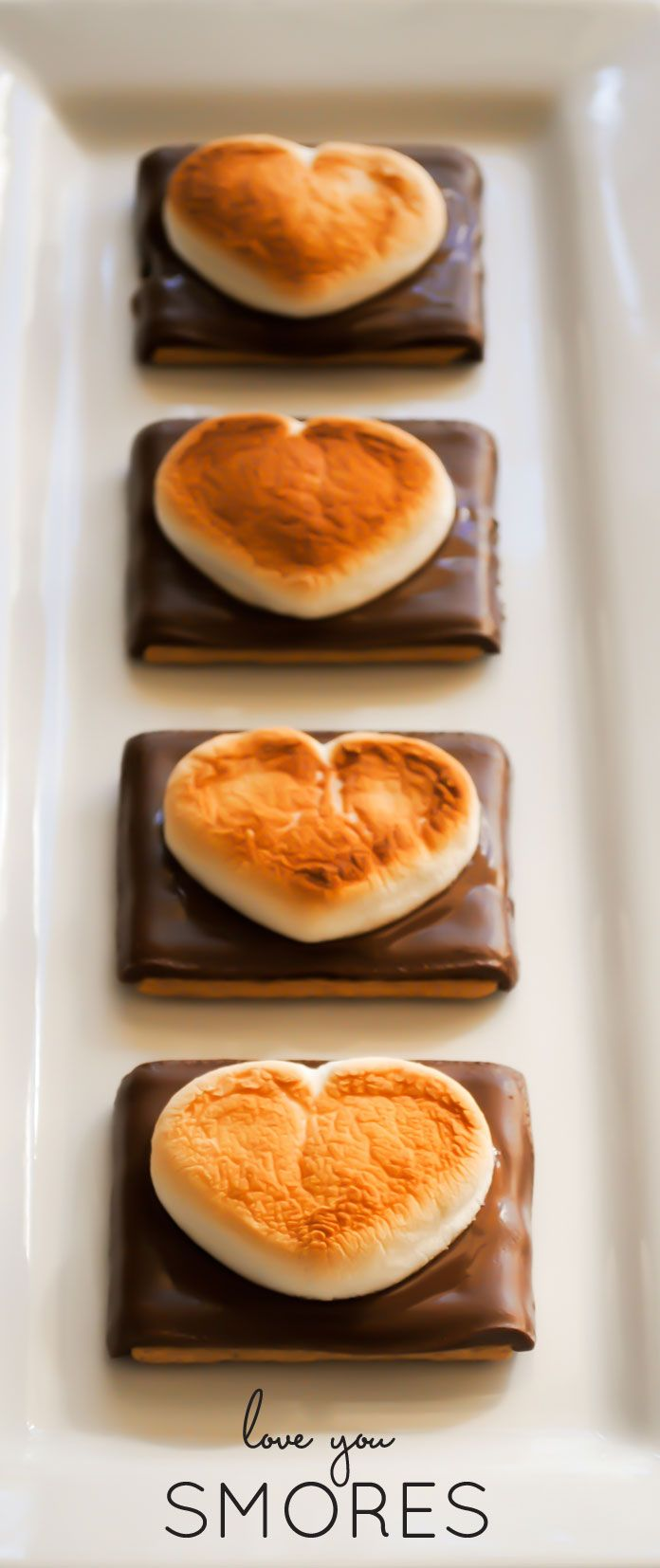 easy and quick Valentine's Day treat | open-faced heart s'mores | by Carrie Sellman for TheCakeBlog.com