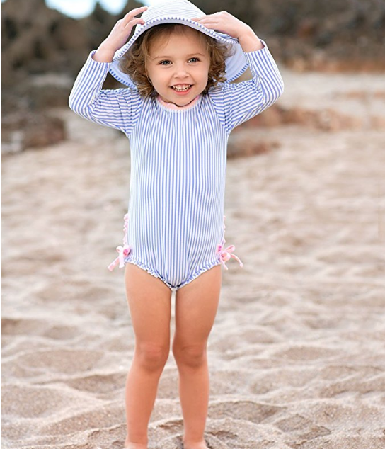 RuffleButts Baby//Toddler Girls Long Sleeve One Piece Swimsuit with UPF 50 Sun Protection