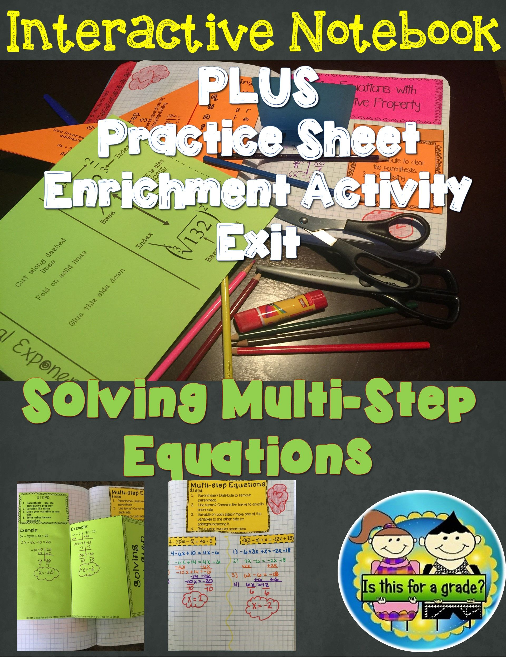 Solving Multi Step Equations Foldable Inb Practice Exit