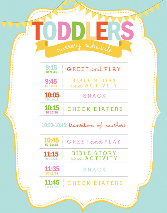 Printable Nursery Or Clroom Schedule Daycare Church Preschool Wall Art Customizable
