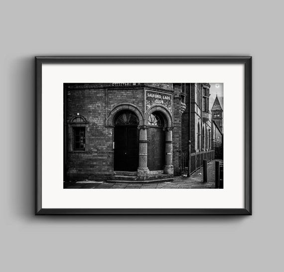 Black and white landscape photograph of Salford Lads Club / Urban / fine art print / The Smiths / wall art / home decor / Manchester