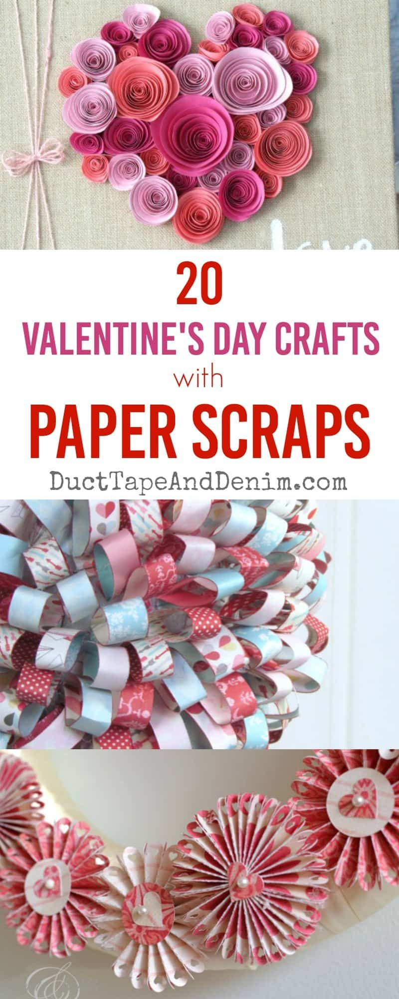 20 Valentine's Day crafts with paper scraps. Get these and lots more Valentine's Day craft ideas on DuctTapeAndDenim.com #ducttapeanddenim #paperscraps #papercrafting #valentinesdaycraftideas #craftideas #papercraftideas #valentinedaycrafts #valentinesdaydecorations