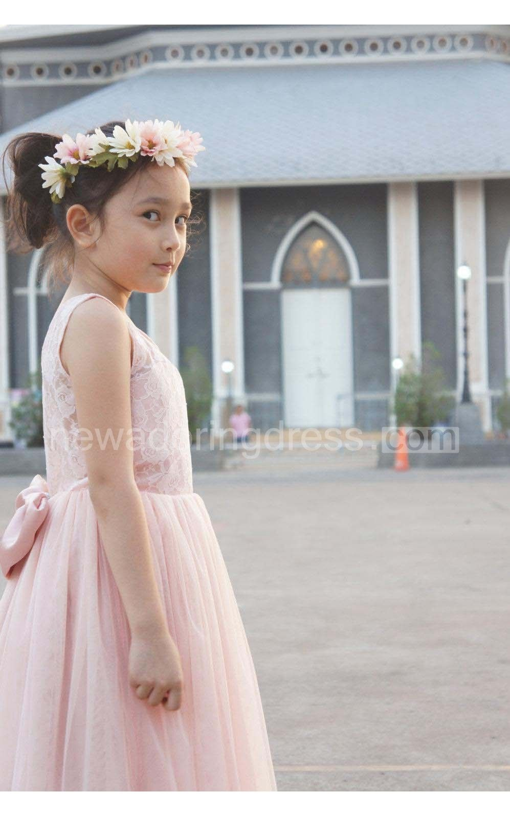 Blush flower lace bodice pleated aline tulle flower girl dress with