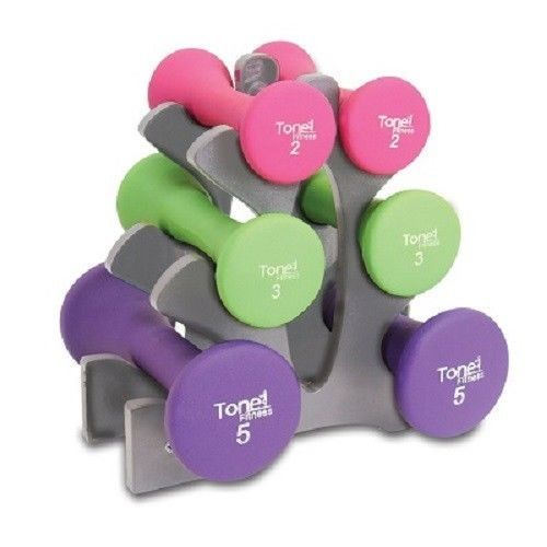 Dumbbells Free Weight Fitness Set Tone Rack Hour Glass Shaped Color New