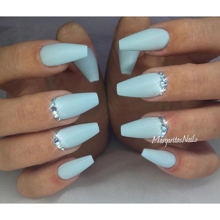 Baby blue matte coffin nails | Glitter Nails | Pinterest | Coffin ...