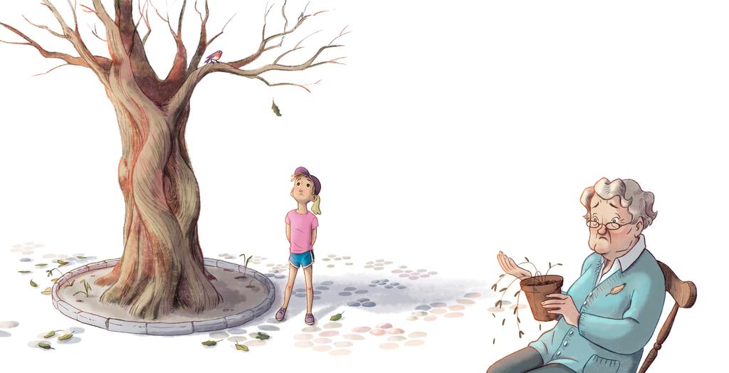La abuela empieza una historia de Una Contar un su nieta, Lo Que No sabe es Lo Que le ocurrirá DESPUÉS .. // Ilustración Javier Rey y Marina Martín