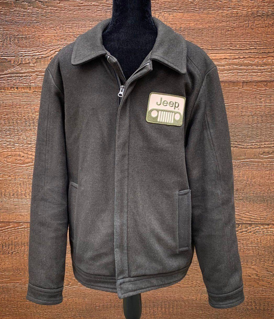 03397907b JEEP Vintage 80s Military Green Wool Bomber Jacket Men's Medium in ...