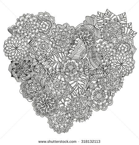 Heart Shaped Pattern For Coloring Book Floral Retro Doodle Vector Design Element Black And White Background Zentangle