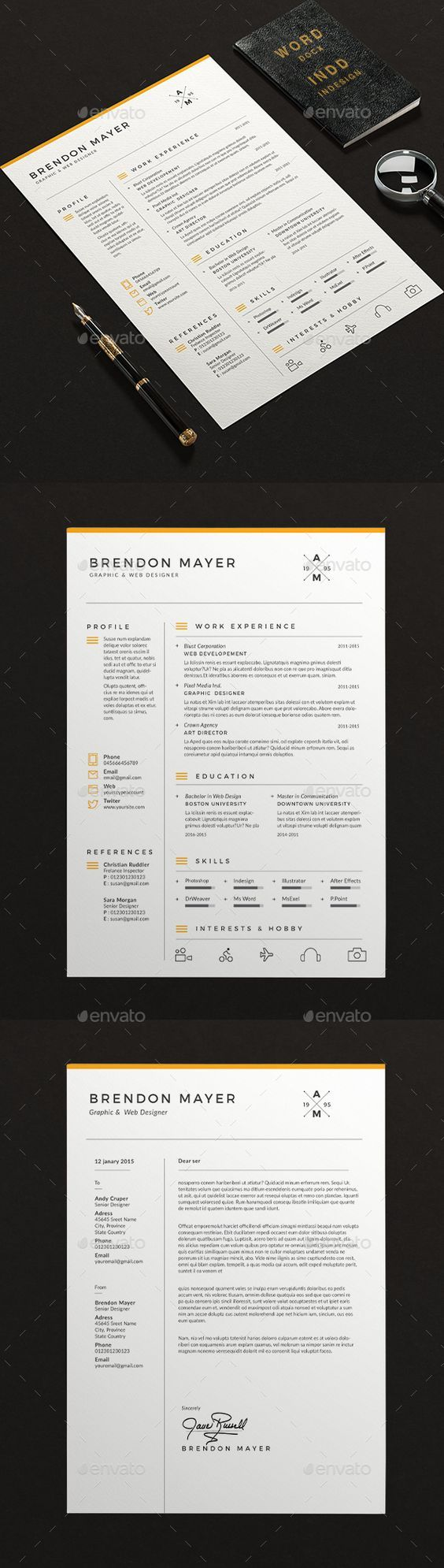 Professional  Modern Resume Template For Ms Word  Cv Template For