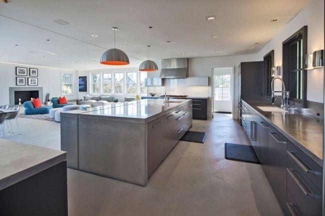 Moderne innenarchitektur küche  wohnideen küche stahl fronten arbeitsplatten design offen | Küche ...