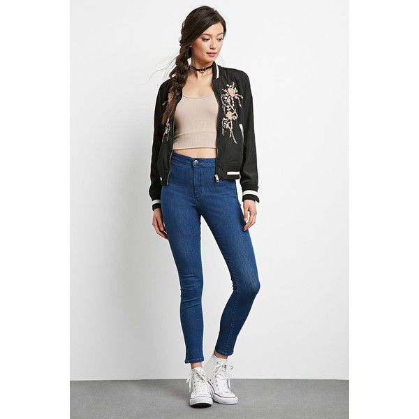 Forever 21 Women's  High-Rise Super Skinny Jeans ($25) ❤ liked on Polyvore featuring jeans, super high-waisted skinny jeans, forever 21, white jeans, high rise skinny jeans and high rise white skinny jeans
