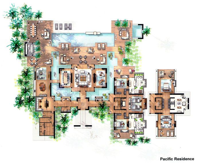 plan maison de luxe | Hotel floor plan, Sims house design ...