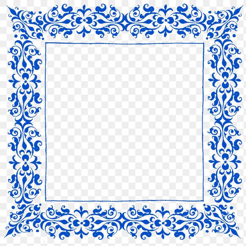 Blue Filigree Frame Border Png Free Image By Rawpixel Com Busbus Vintage Illustration Frame Png