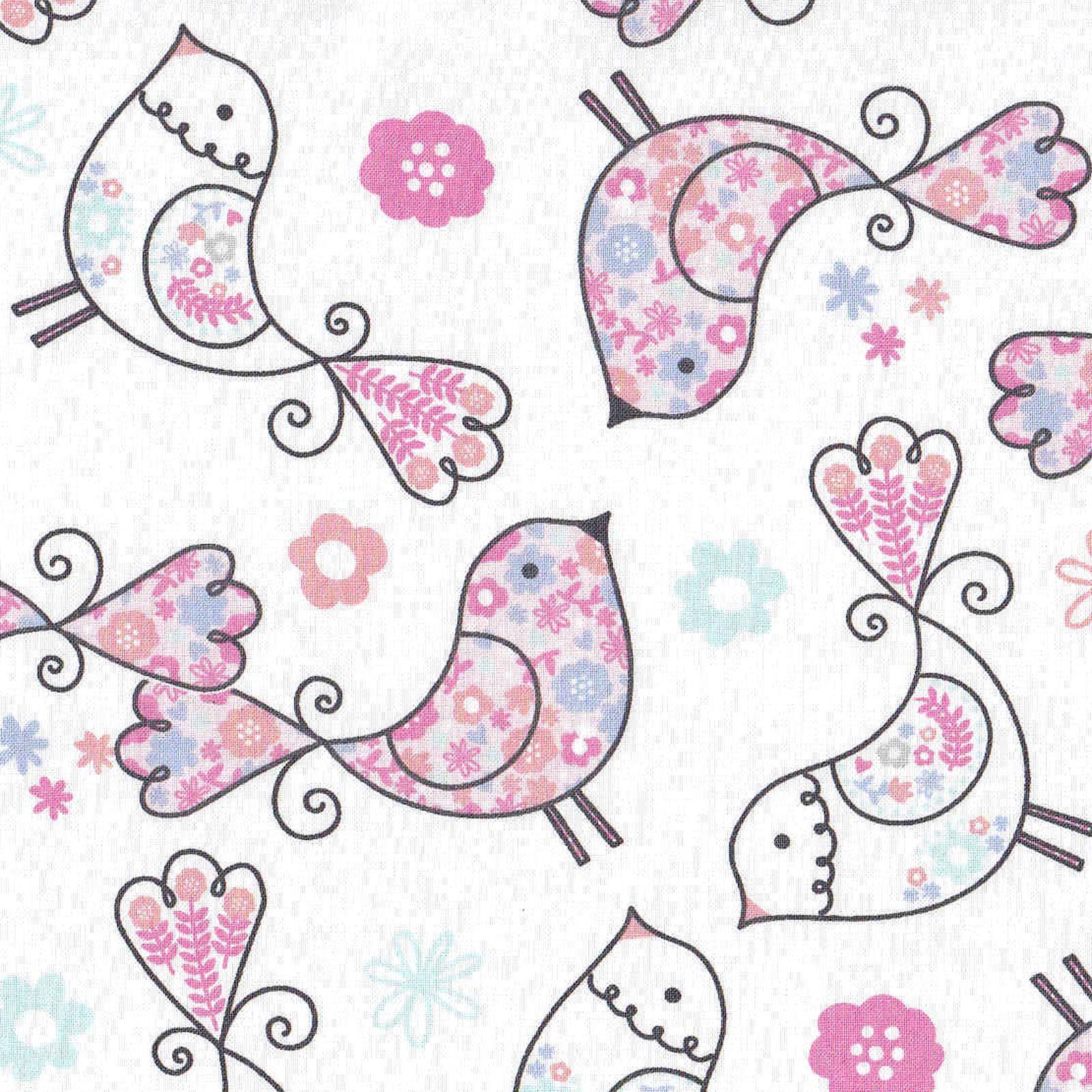 White apron joann fabrics - Nursery Fabric Flower Patch Birds White