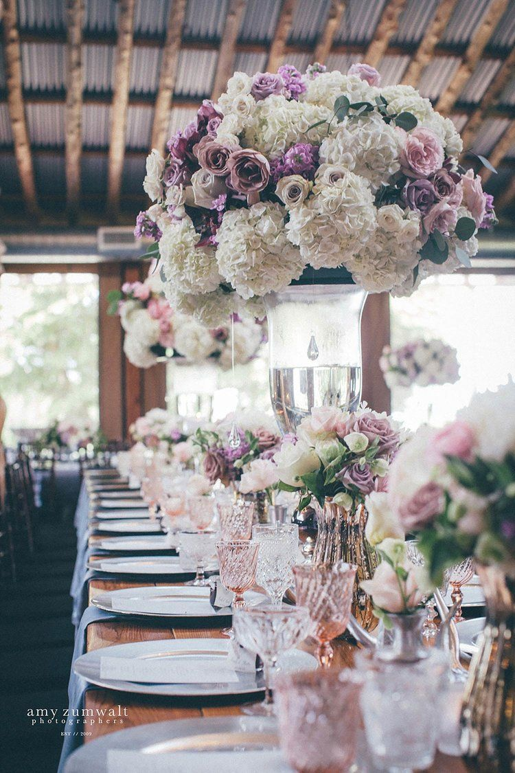 These Tall Wedding Centerpieces Had White Lavender Dusty Plum Flowers On A Long Wood Flower Centerpieces Wedding Lavender Wedding Flowers Cheap Wedding Flowers