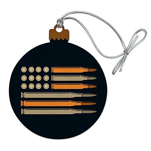 7b8c73369ace American Flag Bullets Guns USA Second 2nd Amendment Wood Christmas Tree  Holiday Ornament