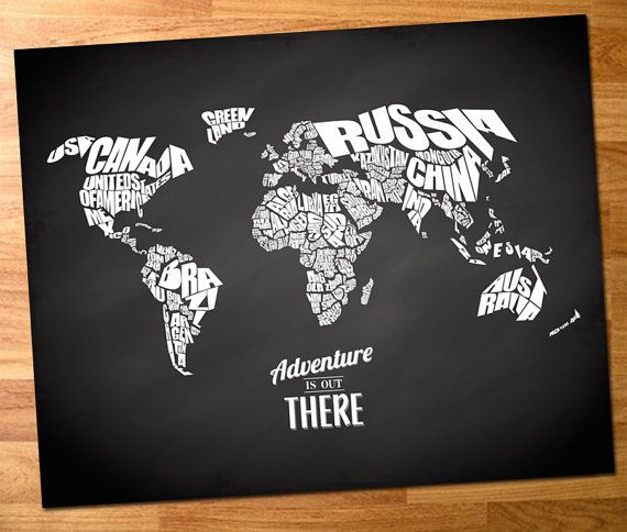 Adventure is out there world word map with travel quote on adventure is out there world word map with travel quote on chalkboard background 8x10 home is where the heart is pinterest word map chalkboard gumiabroncs Image collections