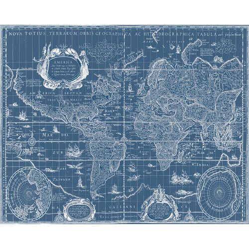 Vintage blueprint world map graphic art on canvas gumiabroncs Choice Image