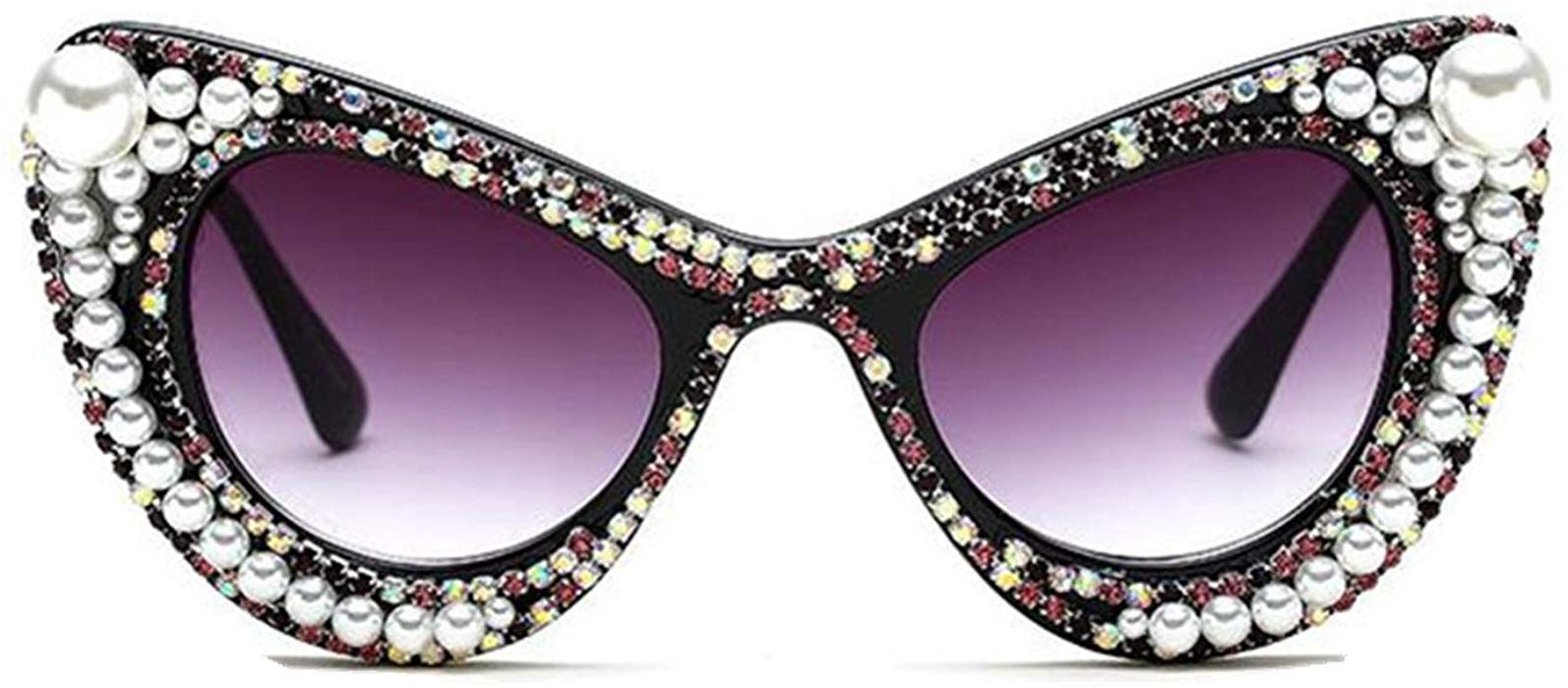 e918d0dfa5c90 Amazon.com  WIIPU Women s Luxury Rhinestone Bling Cat Eye Sunglasses(S279)  (C6 Pearl black
