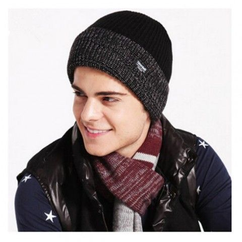d1633d15eff Fashion thick knitted beanie hats for men