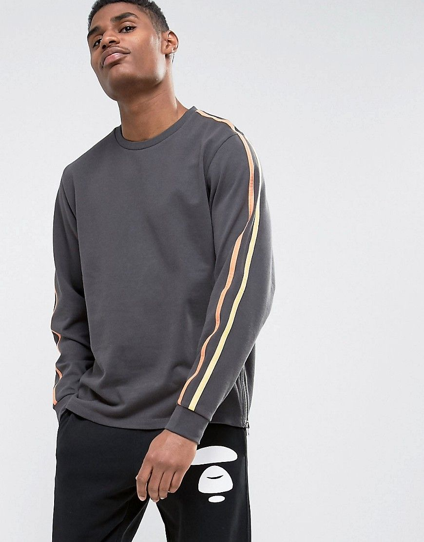 Get this Asos's hooded sweatshirt now! Click for more details. Worldwide  shipping. ASOS Sweatshirt With Taping Detail In Washed Black - Black:  Sweatshirt by ...
