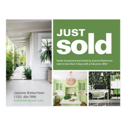 bright green just sold real estate advert template postcard in 2018