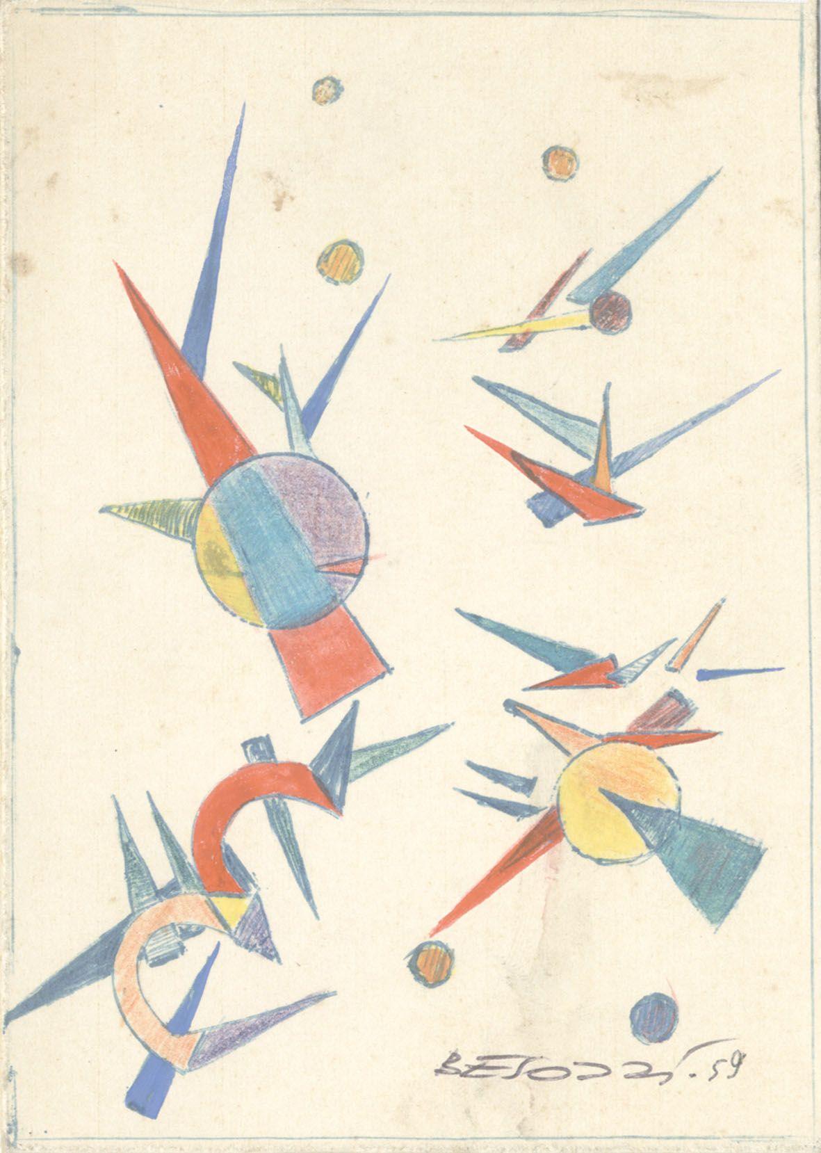 E. Besozzi pitt. 1959 Composizione biro pastelli e tempera su cartoncino cm. 13,6x9,8 arc. 643