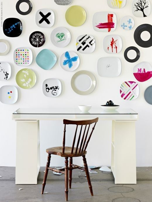 Decorated Ikea plates::