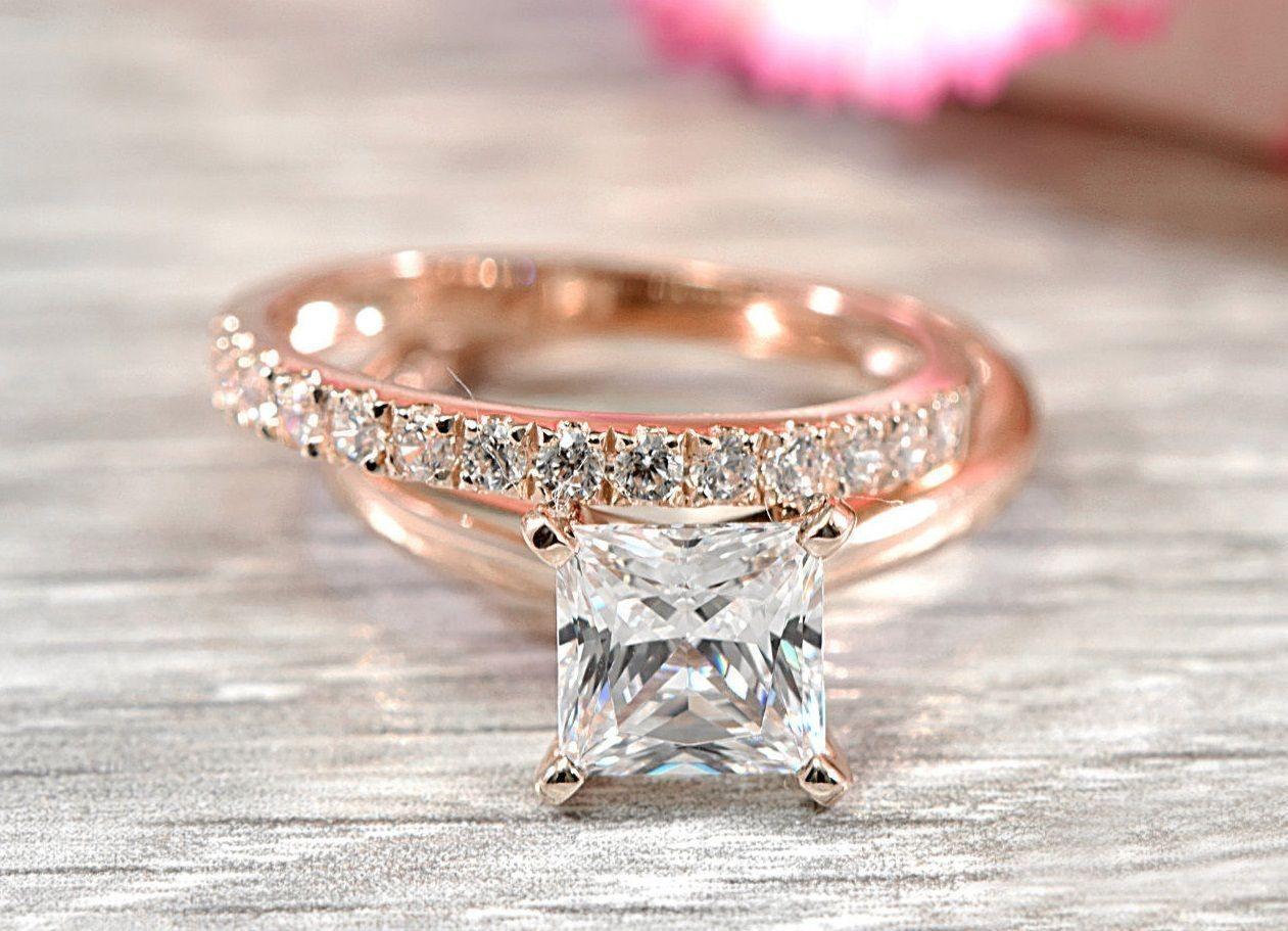 Solitaire ring bridal set princess cut diamond rose gold plated