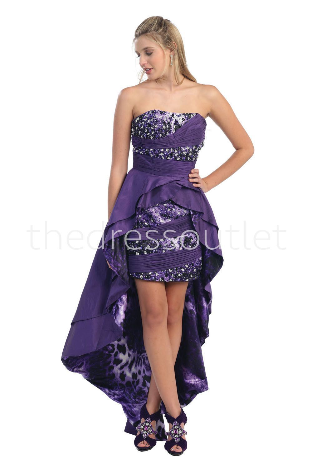 Long High Low Animal Tiger Print Cocktail Formal Prom Dress ...