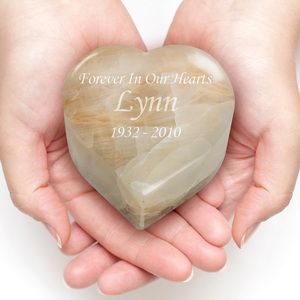 White Onyx Heart Stone Keepsake Cremation Urn - Engravable (for Sadie's ashes)