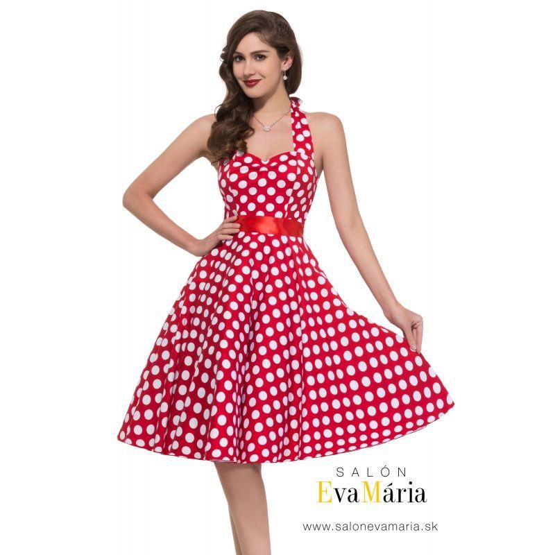 a0191f04080f Červené bodkované retro šaty pre družičku