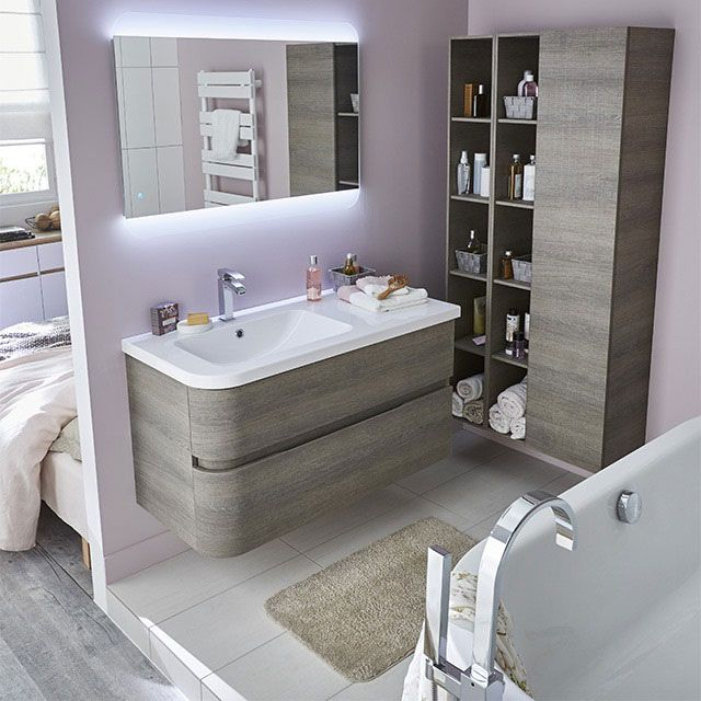 meuble de salle de bains d cor bois gris 108 cm voluto castorama salle de bain pinterest. Black Bedroom Furniture Sets. Home Design Ideas
