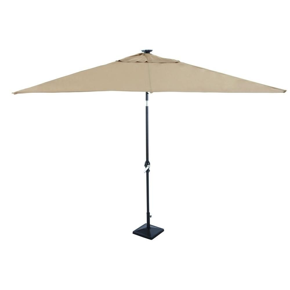 Rectangular Patio Umbrella With Solar Lights Astonica 9 Ftrectangular Solarpowered Patio Umbrella In Taupe