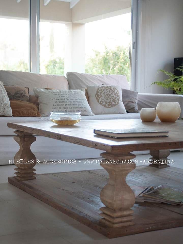 Mesa ratona café style, en madera oregon. Patina a elección ...