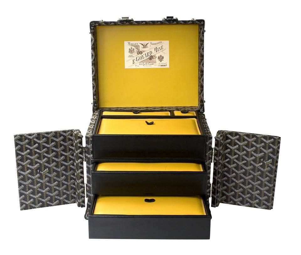 Goyard jewelry case In black Goyardine and fitted with yellow