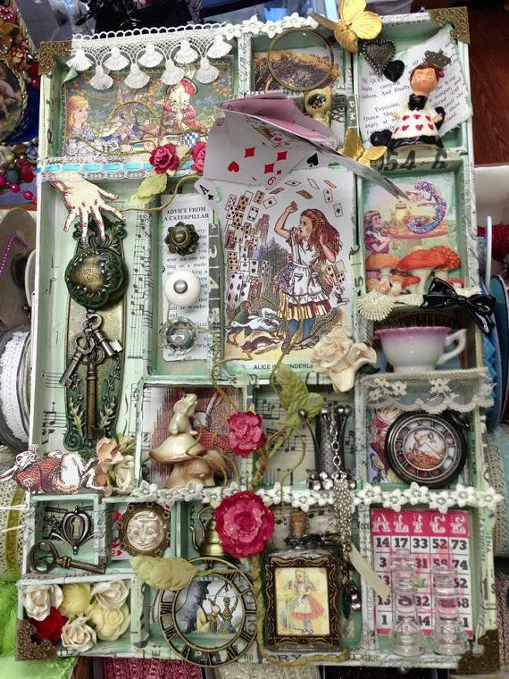 Alice in wonderland altered art by thepiecebypiece fun Alice and wonderland art projects
