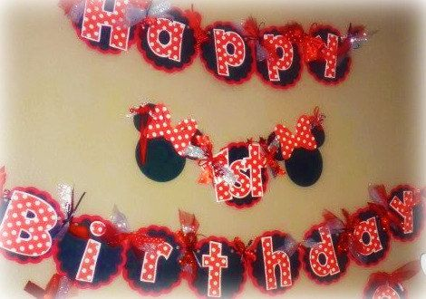 Minnie Mouse Birthday Banner Classic Minnie with Red Black and