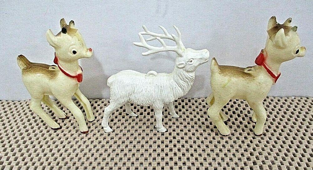 2020 Nsa Christmas Ornament Set 3 Vintage Hard Plastic Deer and Stag Christmas Ornaments