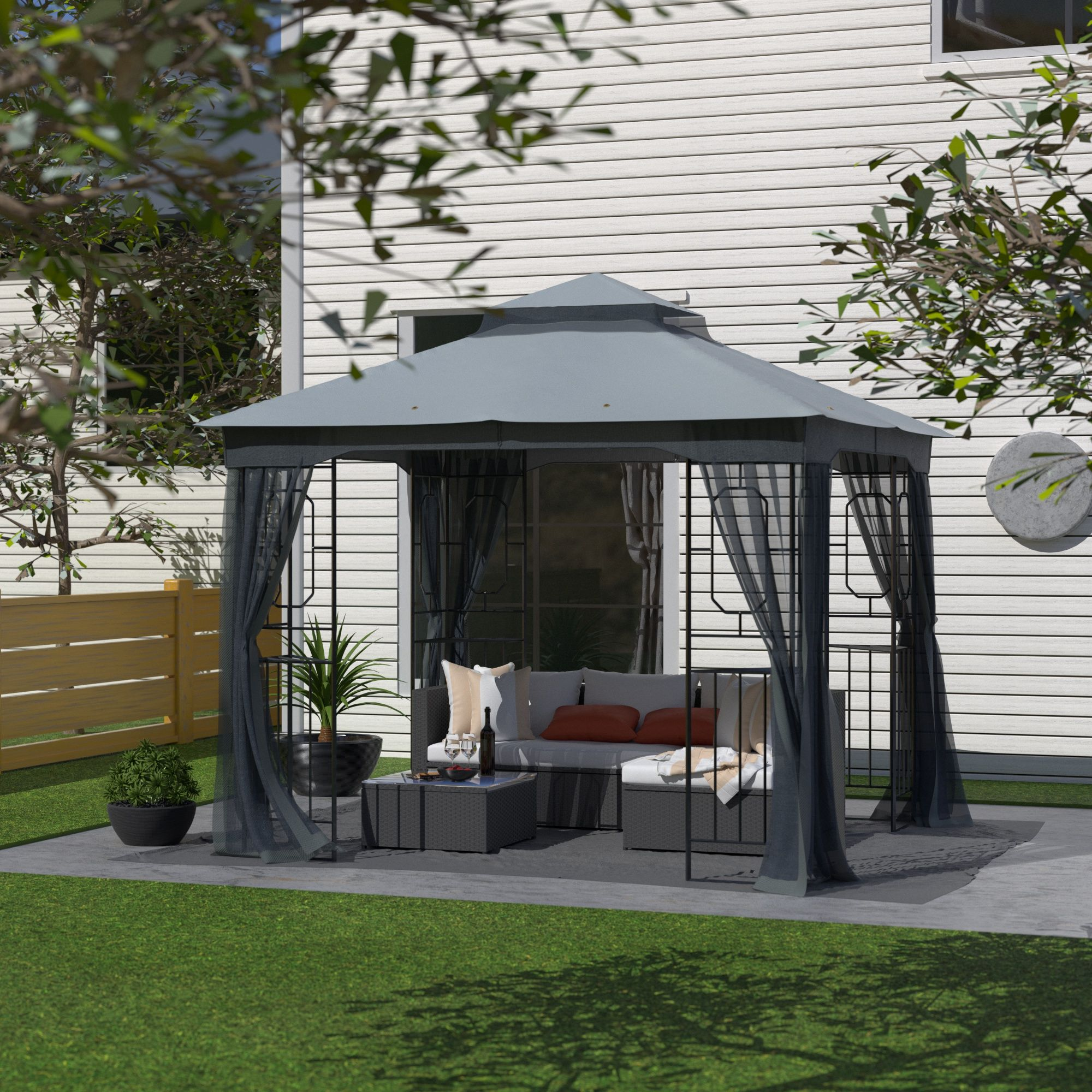Cloud Mountain 10x10 Gazebo With Mosquito Netting Patio Polyester Fabric Garden Canopy Backyard Double Roof Vented Gazebo Canopy Dark Gray Walmart Com In 2020 Gazebo Patio Gazebo Gazebo Canopy