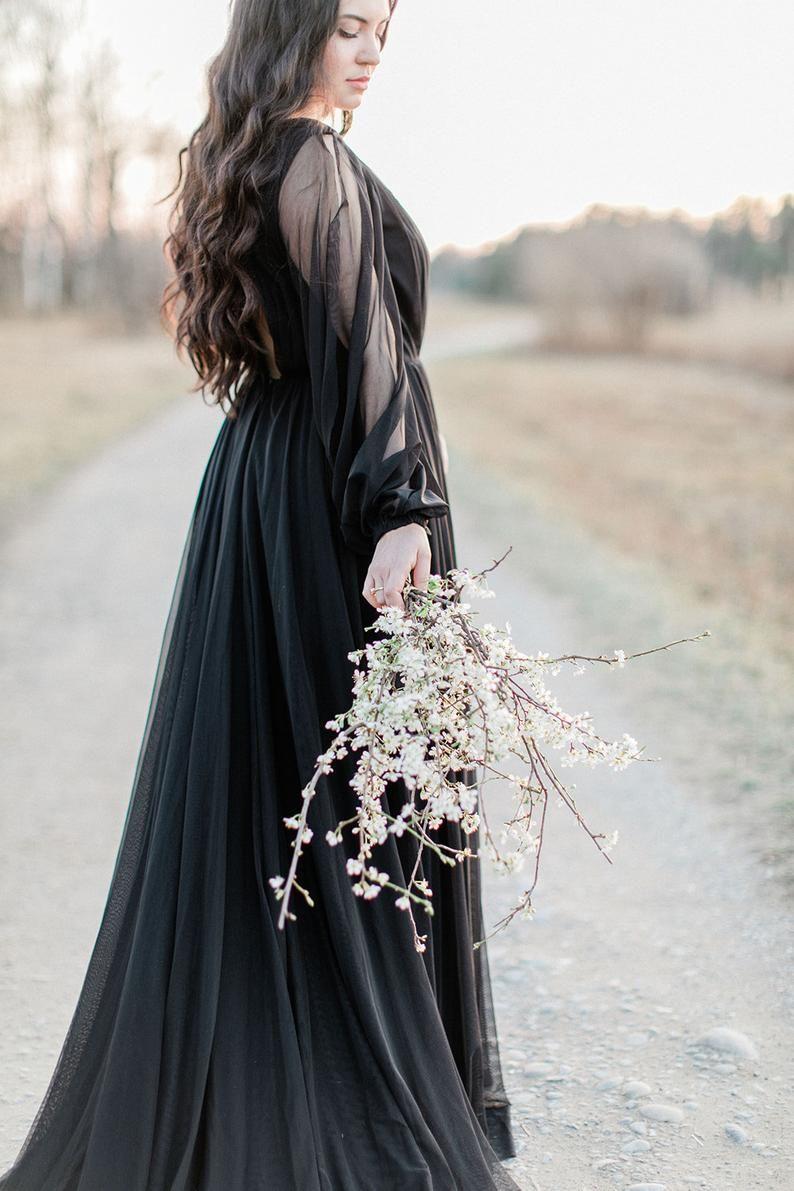 11 Moody Black Wedding Dresses Kiss The Bride Magazine Black Wedding Dresses Black Wedding Gowns Black Wedding [ 1191 x 794 Pixel ]
