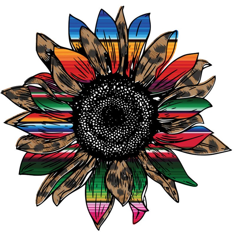 Leopard Serape Sunflower Png Download Etsy Sunflower Png Cheetah Print Background Leopard Flower