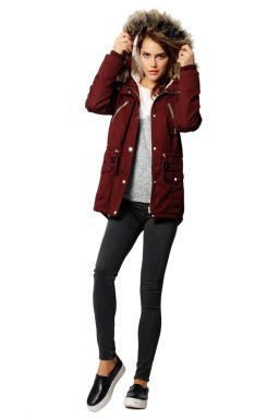 Burgundy Faux-Fur Parka Coat TALLY WEiJL | Winter / fall outfits ...