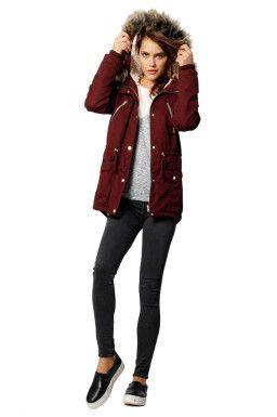 Burgundy Faux-Fur Parka Coat TALLY WEiJL | Winter / fall outfits ...