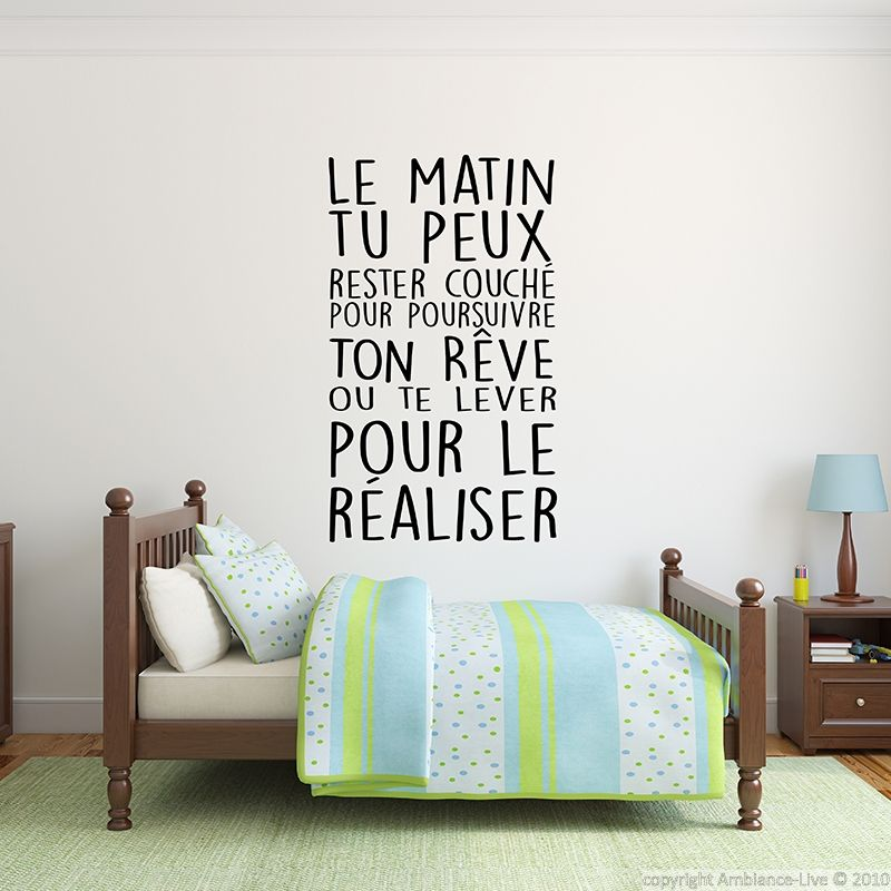 Sticker citation r aliser tes r ves stickers for Autocollant mural texte