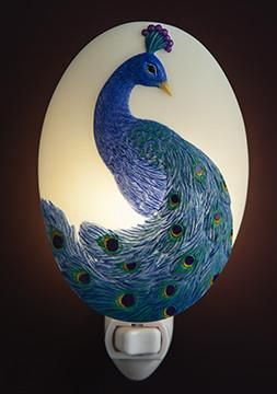 Peacock Night Light | Wall Art | Peacock bathroom, Peacock