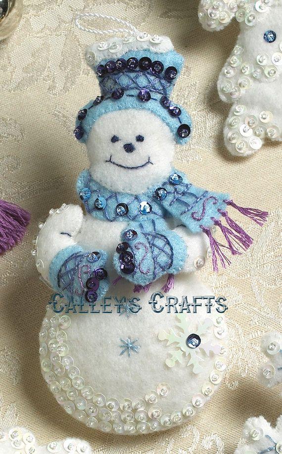 Bucilla Snowflake Snowman Felt Christmas Ornament Kit