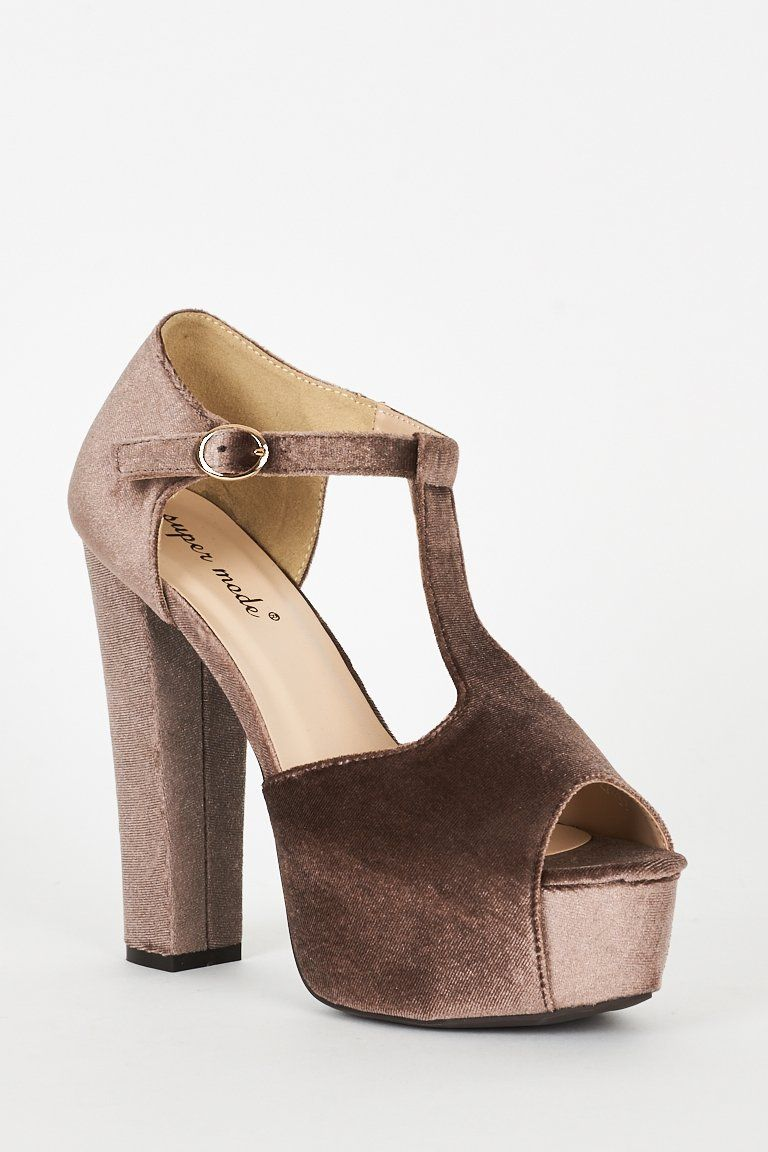 Mocha Velvet Block Heel Platform T-Bar Sandals