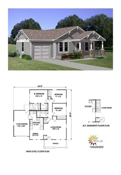 Bungalow House Plan 94374   Total Living Area: 1064 Sq. Ft., 3 Bedrooms And  2 Bathrooms. #bungalowhome